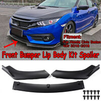 For 2016-2018 Honda Civic Sedan Matte Black Front Bumper Lip Body Kit