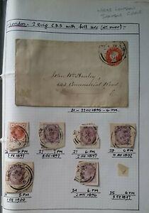1890's Onwards QV London Circle Postmark Study 1d Lilacs + Pics in Description