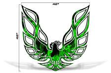 """42"""" X 42"""" Firebird Hood Graphic Decal Sticker For Pontiac Trans Am GREEN FLAMES"""