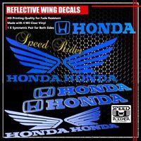 LEFT+RIGHT FAIRING/FUEL TANK REFLECTIVE STICKER+WING VINYL DECAL FOR HONDA BLUE
