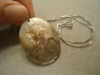 Sterling Silver 925 Carved Abalone Mother of Pearl Shell Lady Cameo Necklace