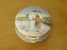 More details for ltd ed crummles the snowman & james enamel box - 2 3/8
