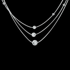 Chic 925 Sterling Silver Filled Ball 3 Layers Woman Necklace N-A576 Gift Wedding