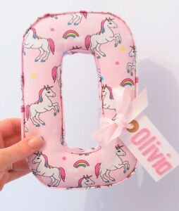 Childrens personalised fabric letters names. Girls unicorn pink princess decor
