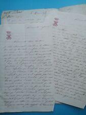 Comte SAINT-BELIN Louis noblesse THOMASSIN DE BIENVILLE Zoé 2 lettres Vaudrémont
