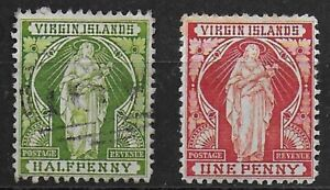 British Virgin Islands 1899 QV Definitives 1/2d used and 1d MH