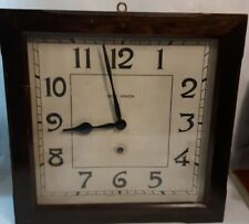 Vintage 1917 New Haven Square 8 Day Wall Clock Wind Up WORKING
