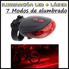 Luz LED para Bici Trasera y Laser de Carril Bicicleta de Seguridad 7 Posiciones
