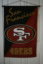 """49ers Sports Banner Flag San Francisco 42"""" x  28"""" Printed & Sewn in the USA"""