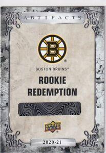 20/21 UD ARTIFACTS BOSTON BRUINS RC SP ROOKIE REDEMPTION #183
