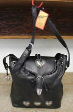 MAXAM Geniune Leather Lambskin Purse Bag Black Saddle Handbag Silver Hearts
