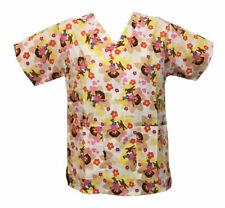 Nickelodeon Nursing Pediatric Scrubs Shirt Top Dora White XL