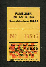 Original 1981 Foreigner Concert Ticket Stub Louisville Head Games