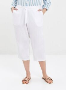Evans Womens Plus Size White Linen Blend Cropped Trousers Bottoms
