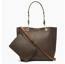 NWT Calvin Klein Leather BROWN SONOMA REVERSIBLE BAG + ZIP POUCH