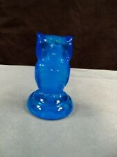 "HTF Boyd Art Glass Blue Glass Woodsie Owl Figurine 2"" Tall"