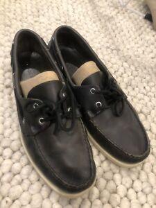 sebago docksides Black Leather Mens US 9.5 W