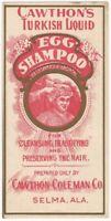 Vintage Cawthorne's Turkish Liquid Egg Shampoo Label