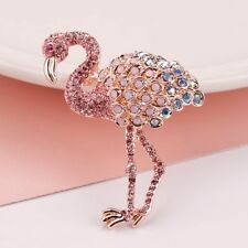 Women's Brooch Fashion Pins Accessories Beautiful Pink Flamingo Crystals Pin