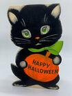 Vintage Norcross CAT Stand up 1960's  HALLOWEEN Greeting Card- Black Flocked wd4