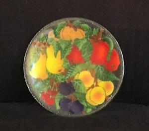 """Peggy Karr Fused Glass Fruit 11"""" Serving Plate Signed Mint Condition"""