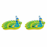 Intex Giant Inflatable Colorful Peacock Island Ride On Pool Float Raft (2 Pack)