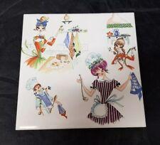 "H & R Johnson Tile Trivet 6""×6"" White Ceramic  w Woman Cooking, Kitchen England"