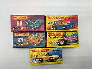 Lot of 5 Vintage Matchbox Diecast Cars Original Boxes Superfast Lot