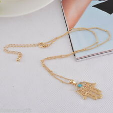 HX 1PC Hamsa Lucky Fatima Hand Pendant Necklace Evil Eye Turquoise 44cm