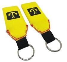 2x Yellow Floating Neoprene Keychain Key Chain floats 2-3 Keys