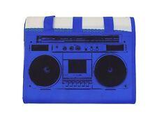 CLASSIC RADIO STRIPED BLUE WHITE BLACK LARGE CARRYING BEACH MAT 90CM X 180CM