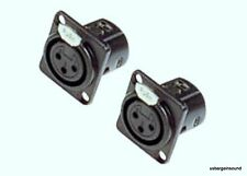 (2 Pack) ProCraft PXLRFP-B Panel Chassis Mount Female XLR Connector Black Metal