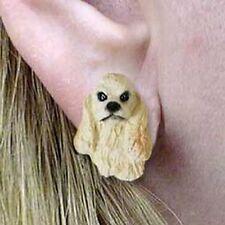 COCKER SPANIEL Blonde Blond Tiny One Dog Head Post Earrings Jewelry