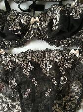 BH Set Change 70 B, Bügel-BH, Slip 38,schwarz mit zartem Rosa und edel Spitze.