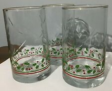 Set of 3 -  1984 Arby's Christmas Collection 16 oz. Drinking Glasses - Gold Rim
