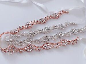 Women Crystal Rhinestone Prom Wedding Waist Formal Dress Satin Belt Waistband