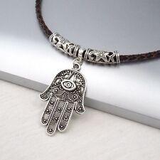 Silver Alloy Hamsa Khamsa Hand Eye Pendant Braided Brown Leather Choker Necklace