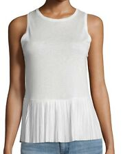 NWT $140 Theory Elvnee Drapey Pleated Peplum Top Tee Size L In Ivory