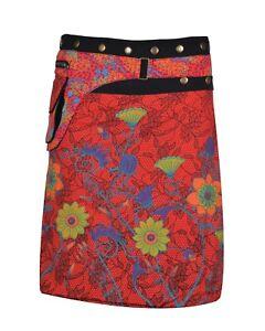 Women's Cotton Skirt Floral Print Button Closure Warp Mini Skirt