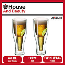 NEW Avanti Top Up!!! 2 Piece Twin Wall Beer Glass 400ml Set 15454