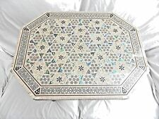 "Egyptian Inlaid Mother of Pearl Paua Wooden Table Hexagonal Long 19.25"" X 15"""