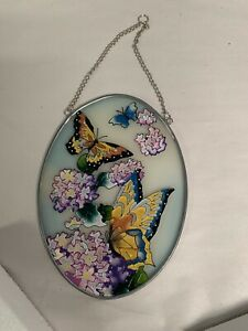 """butterfly floral oval stained glass wall hanging Suncatcher 8"""" x 5.5"""""""
