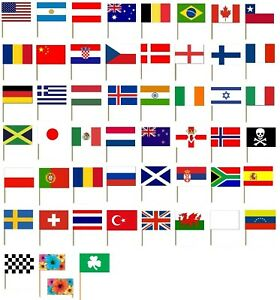 10 COUNTRY NATIONAL FLAG COCKTAIL STICKS PICKS CUPCAKE SANDWICH PARTY FOOD DECOR