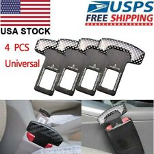 4Pcs Universal Carbon Fiber Car Safety Seat Belt Buckle Alarm Stopper Clip Clamp