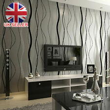 Black Grey Wave Striped Wallpaper Stripe Curve Feature Wall Bedroom Living CH