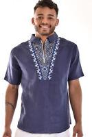 Mens Bohio 100% Linen Navy Embroidered Zippered Collar Shirt (S - 2XL) - MLS754