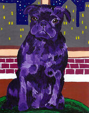 Purple PUG New York City Dog Art PRINT of Original Painting Artwork by VERN
