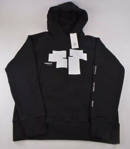 C.P. Company NWT Hoodie Sweat Shirt Size L Black With Graphic White Logos