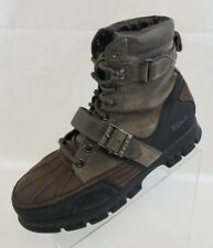 Polo Ralph Lauren Brennen Mens Brown Green Black Leather Lace Up Boots Size 9D