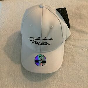 Mazda Miata White With Black  Strapback Hat Cap by Three In Brand New With Tags